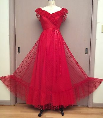 Vintage 70s Red Maxi Long Prom Dress Gown Dotted Net Ruffle Valentine Wedding S