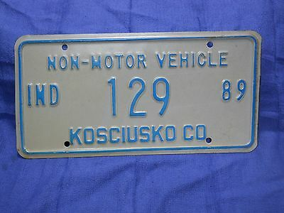 INDIANA KOSCIUSKO COUNTY 1989 NON MOTOR VEHICLE AMISH BUGGY License Plate # 129