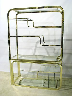 Vintage 2 Piece Milo Baughman Brass Etagere; Design Institute of America Label