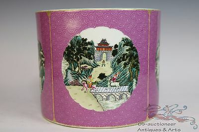 Famille Rose Beautiful Chinese Porcelain Landscape View Brush Pot