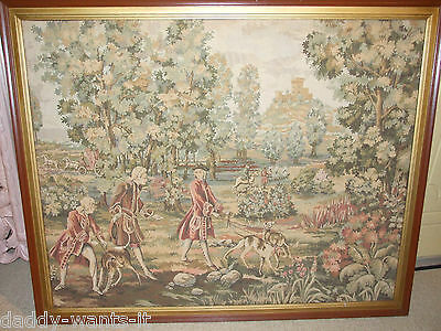 Vintage Framed Large Tapestry English Country Provincial Dogs Horses 137x109cm