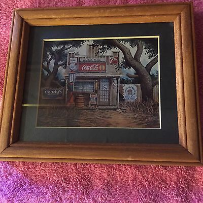 COCA COLA FRAMED MATTED ADVERTISING PRINT JUNIOR'S PLACE STORE signed