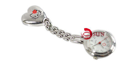 Brand New Hello Kitty Red Nurse Nursing Battery Powered Clip on Pocket Watch