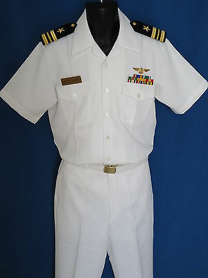 Us Navy Dress Lcdr  Top Gun  White Uniform+Ribbons+ Insignia... Most Sizes
