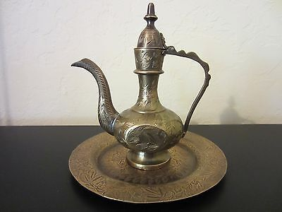 VTG Collectible Solid Brass KUMGAN East Pitcher/Tray Hand Engraved in India-336g