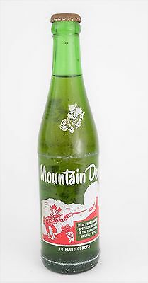 VINTAGE MOUNTAIN DEW GLASS SODA BOTTLE Hillbilly - Green Sealed Unused - 10 oz
