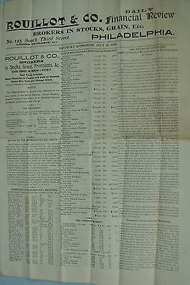 Rouillot & Co Broker Stocks Grains July 18 1896 Railroad Earnings Philadelphia