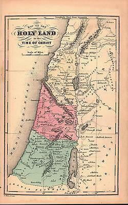 Holy Land in time of Christ Antique Colored Map 1870