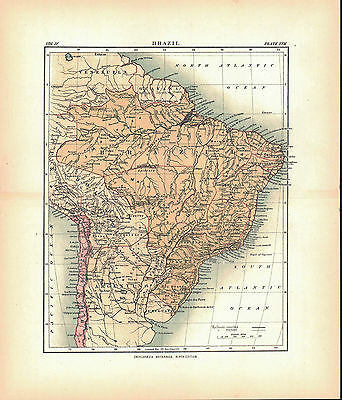 Brazil Argentina Chile South America Antique Map 1877