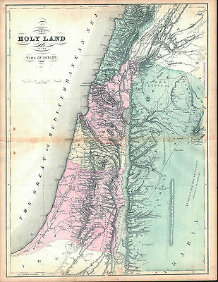 The Holy Land in Time of Christ Antique Colored Map 1861