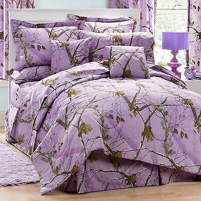 Realtree AP Lavender Camo 8 Pc Full Comforter Set - Great for the Cabin!