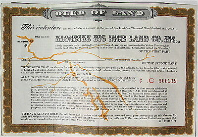 Vintage Klondike Big Inch Land Co. Inc. Deed Of Land Quaker Oats