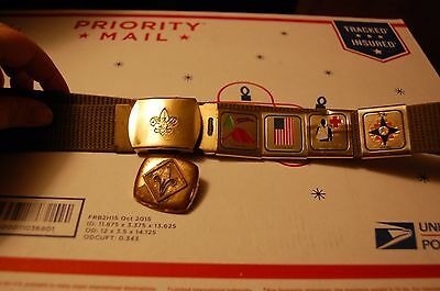 Vintage BSA Green Belt Official Brass Buckle 4 Sliders & Neckerchief Slide