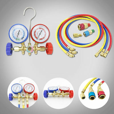 R134a R12 R22 AC A/C Manifold Gauge Set 5FT Colored Hose Air Conditioner WP EK