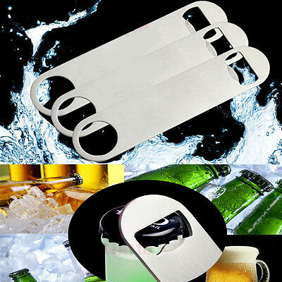 Unique Flat Stainless Steel Speed Bottle Cap Opener Remover Bar Blade NEW
