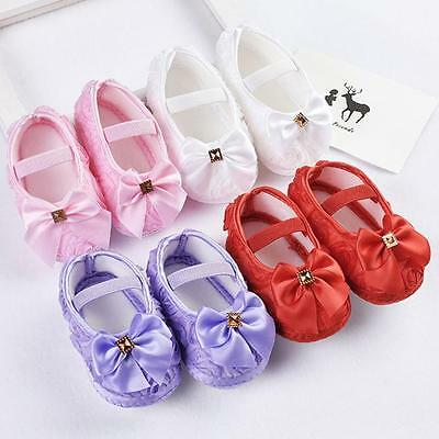 Infant Newborn Baby Girl Princess Crib Shoes Soft Christening Pram Prewalker