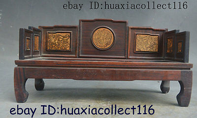 "10"" Collect China Rosewood Wood Hand Carved design Miniature Luohan bed chair"