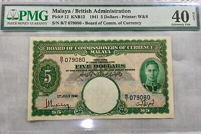 Malaya 1941 King George Vi $5 Dollar P12 Rare Note In High Grade - Fast Shipping