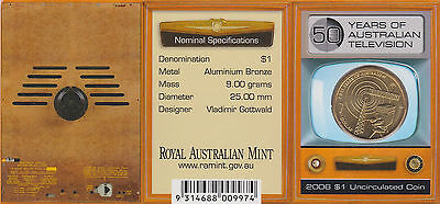 2006C (Unc) $1 Coin (50 Years Tv) Ram Card Canberra (C) Mint Mark
