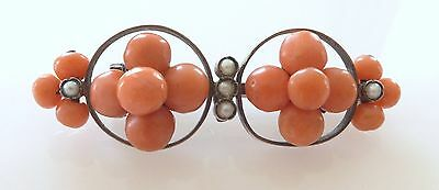 Vtg Salmon Coral Seed Pearl Rondelle Bead Brooch Pin Sterling Silver Victorian