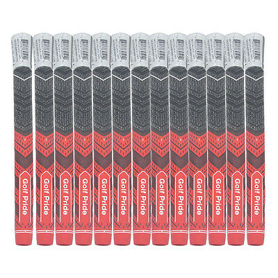 Set of 13 Golf Grips MultiCompound MCC PLUS4 Standard Size RED BLACK