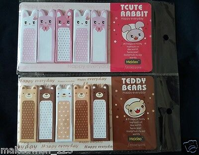 2X Rabbit & Bear Sticker Post It Bookmark Point It Marker Memo Flag Sticky Notes