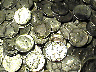 1 Ounce 90% Silver Dimes All 1964 & Previous Dates + 3 Jars 24K Gold Flakes Lot