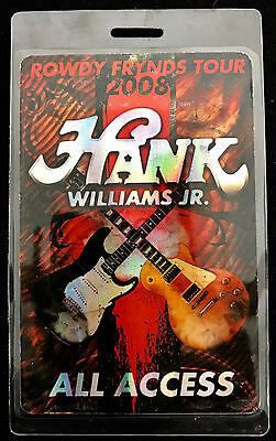 Hank Williams Jr. - All Access Tour Laminate Backstage Pass - 2008 Rowdy Frynds
