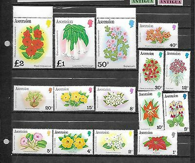 pk25139:Stamps - Ascension #274-288 Flower Issues - Mint Never Hinged