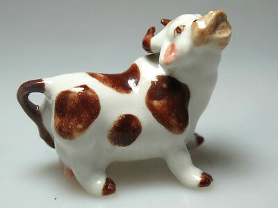 Craft Miniature Collectible Porcelain Ceramic Smiling Cow Figurine Animal