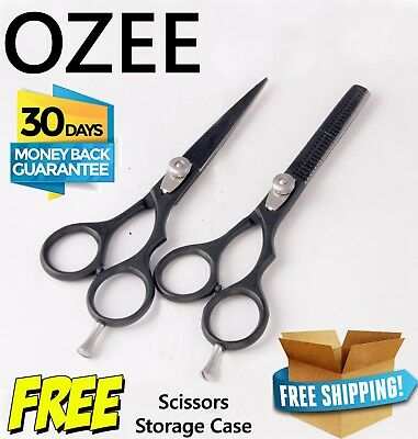 PROFESSIONAL Barber Hairdressing Scissors Set Hair Cutting Thinning Shears+ Case