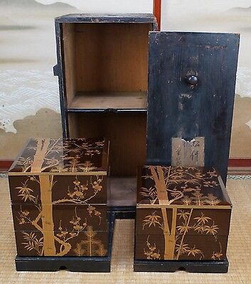 Antique Jyubako Japanese lacquered ceremonial food box 1800s Japan craft