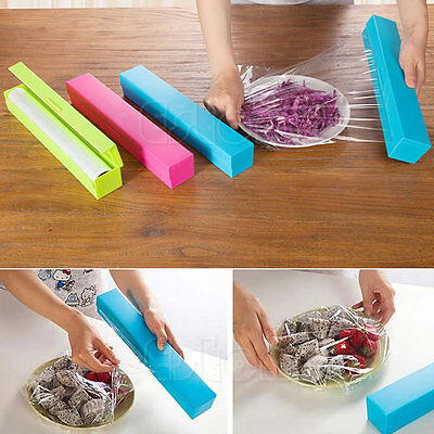 New Plastic Kitchen Cling Foil And Film Wrap Dispenser Cutter Storage 3 Color