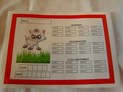 Cat Vaccination, Worming, Flea Treatment Month/year Reminder Sticker.