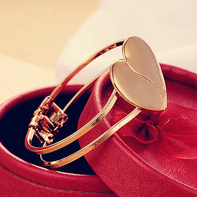 Love Heart Bracelet Gift Multi Layer Gold Plated Chain Bangle Cuff Girl Women UK