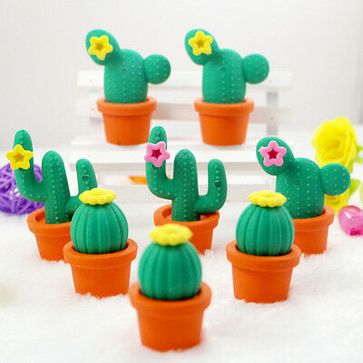 2Pcs Funny Cactus Rubber Pencil Eraser Novelty Students kids Stationery Gift Toy