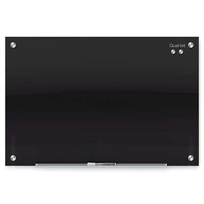Quartet Glass Dry Erase Board, Magnetic, 3 x 2 Feet, Black Surface, Frameless Wh