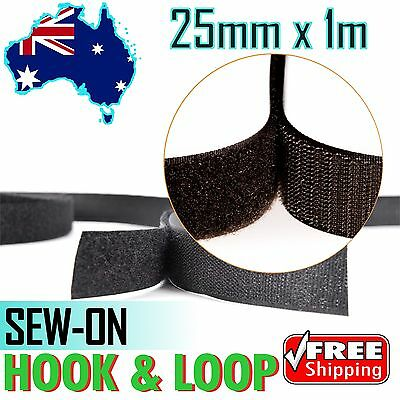 25mmx1m Black Sew On HOOK and LOOP Fastener Sewing Touch Tape -Velcro Equivalent