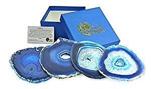 Set Of 4 Blue Agate Coasters Natural Gemstone Coaster Gift. New and Boxed.