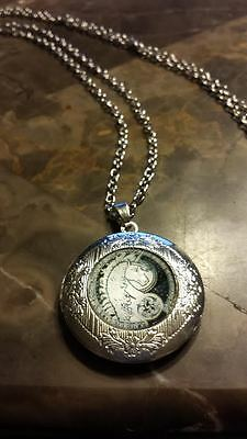 Celtic Unicorn Silver Plated Locket with Domed Glass and chain