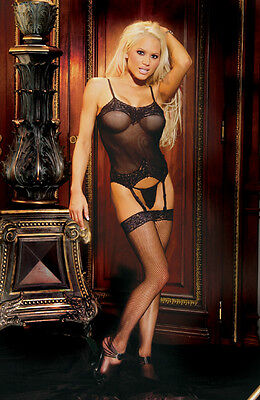 Fishnet 3 piece set with Thigh High Stocking & G-String Plus Size 16-22 Black