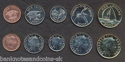 BERMUDA COMPLETE FULL COIN SET 1+5+10+25 Cents +1 Dollar 2003-2004 UNC LOT of 5