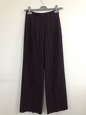 Vintage Betty Jackson Brown Pin Striped Flared 60s/70s Trousers UK XS (W220)