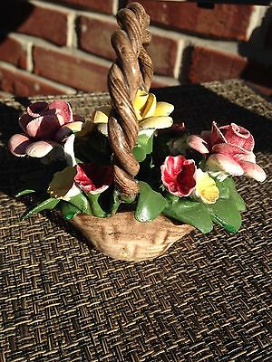 Nuova CAPODIMONTE Porcelain Pink Roses  Bouquet Basket Bowl ~ ITALY