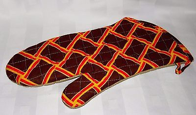 Vintage Folgers High Point Coffee Promo Orange & Brown Oven Mitt Glove Geometric