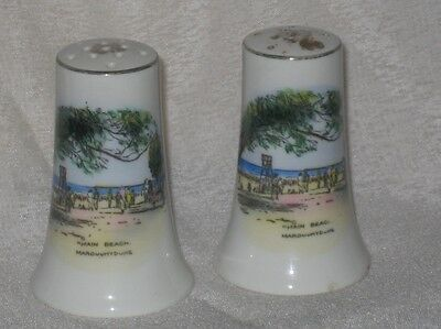 Vintage China Souvenir Salt and Pepper Shakers Main Beach Maroochydore, Qld