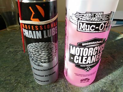 motorcycle chain lube and muc off cleaner