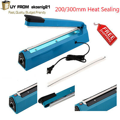 "Hand Impulse Sealer Heat Sealing Machine Poly Plastic Bag Film12"" 300mm 110V EG"