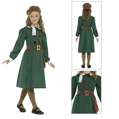 Smiffys Kids WW2 Evacuee Girl Costume World Book Week Childs Fancy Dress Outfit