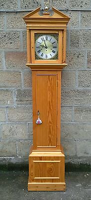 Long Case Georgian Style Grandfather Clock Solid Pine Battery Operated